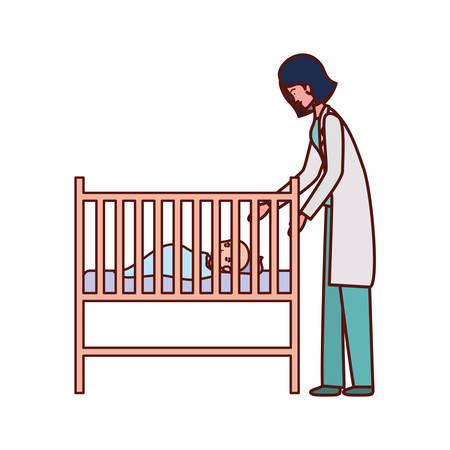 Pédiatre femme médecin avec bébé dans la conception d'illustration vectorielle de berceau
