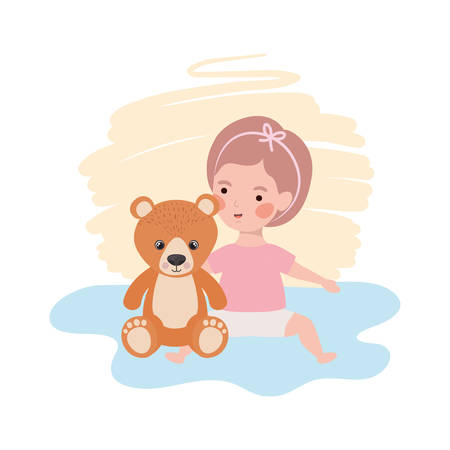 cute little girl baby with bear teddy toy character vector illustration design
