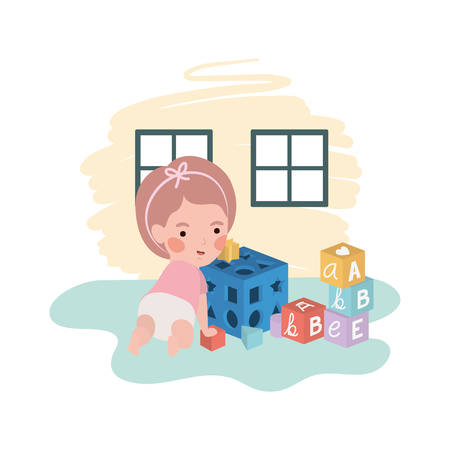 cute little girl baby with blocks toy character vector illustration design