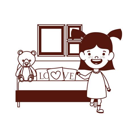 cute little girl baby in the bedroom with bear teddy vector illustration design Çizim
