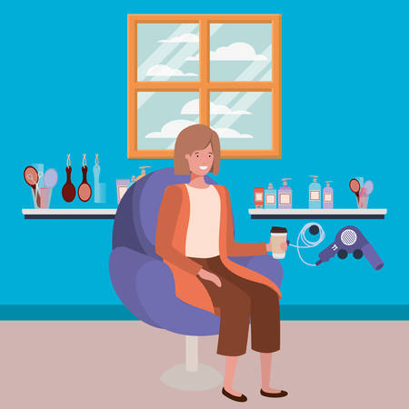young woman seated in salon chair drinking beverage vector illustration design Ilustração