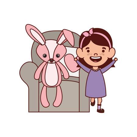 cute little girl baby with bear teddy in the sofa vector illustration design