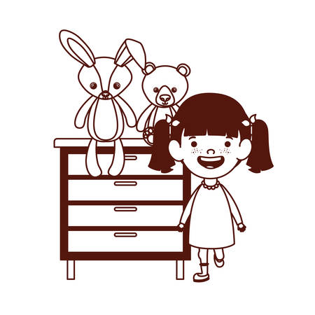 cute little girl baby with stuffed bear and rabbit in drawer vector illustration design Çizim