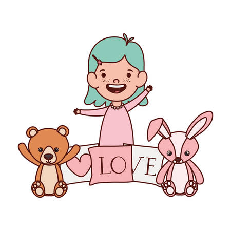 cute little girl baby with toys character vector illustration design