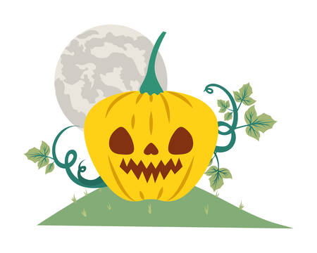 halloween pumpkin with dark face in the field at night vector illustration design