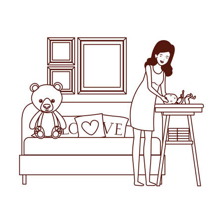 cute pregnancy mother with little boy in livingroom vector illustration design
