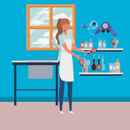 woman stylist working in salon workplace scene vector illustration design