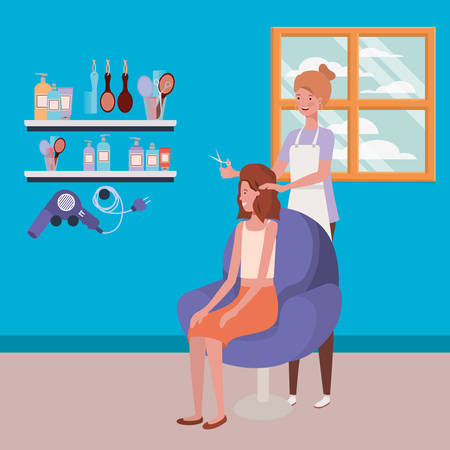 stylist fixing hair to client in the salon characters vector illustration design