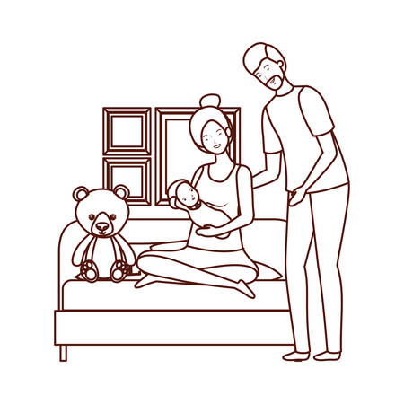 parents couple with little baby in livingroom characters vector illustration design