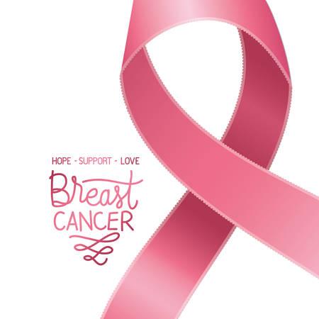 nastro della campagna contro il cancro con disegno di illustrazione vettoriale di calligrafia