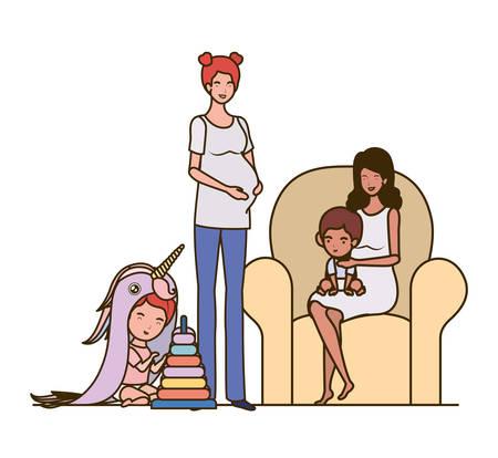 interracial pregnancy mothers with little babies in livingroom vector illustration design