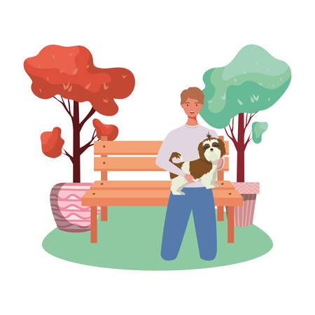 young man lifting cute dog in the park vector illustration design