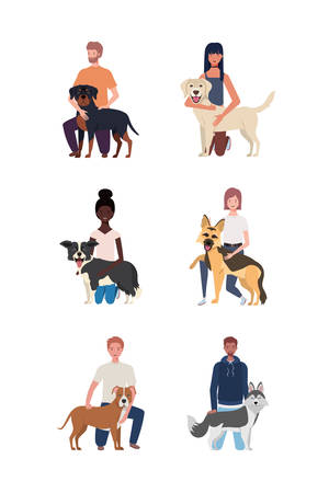 young people with cute dogs mascots characters vector illustration design