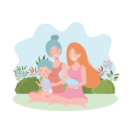 cute pregnancy mothers seated lifting babies in the camp vector illustration design