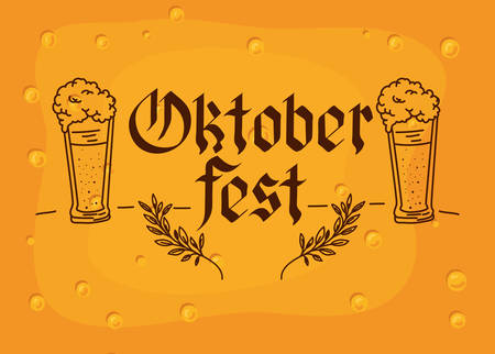Oktoberfest lettering poster with beer glass icon and wheat ears over beer background, colorful design. vector illustration Stock Illustratie