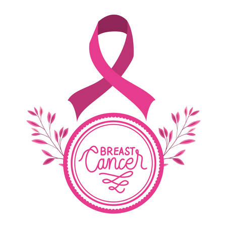 circular frame with breast cancer ribbon and calligraphy vector illustration design