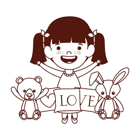 cute little girl baby with stuffed bear and rabbitt vector illustration design