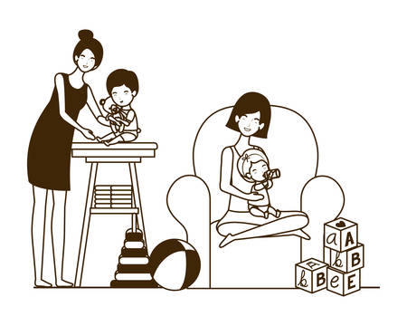 cute pregnancy mothers with little babies in livingroom vector illustration design Иллюстрация