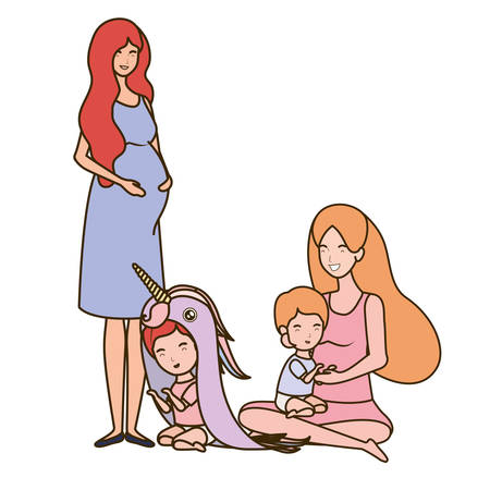 cute pregnancy mothers seated lifting little babies vector illustration