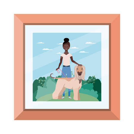 young afro woman with cute dog in picture vector illustration design