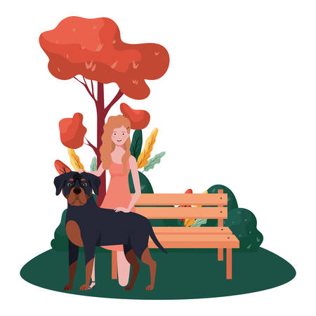 young woman with cute dog in the park vector illustration design