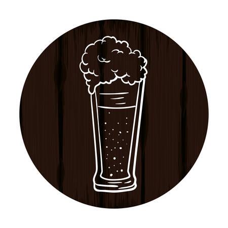 beer glass in wooden background oktoberfest celebration vector illustration design