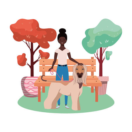 young afro woman with cute dog in the park scene vector illustration design Vektorové ilustrace