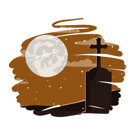 halloween celebration with cemetery and moon scene vector illustration design