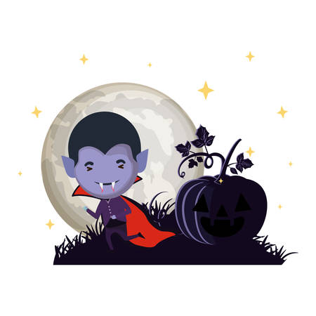 cute little boy with dracula costume in dark night scene vector illustration design 스톡 콘텐츠 - 133103544