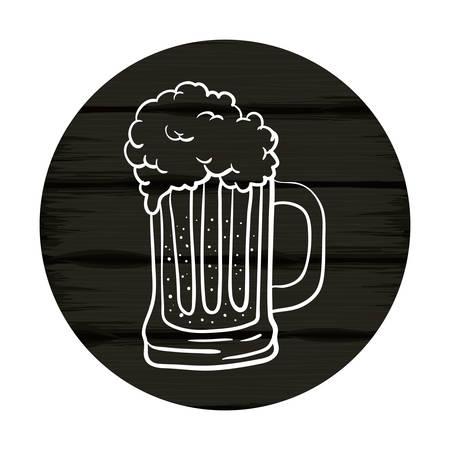 beer jar with wooden background oktoberfest celebration icon vector illustration design