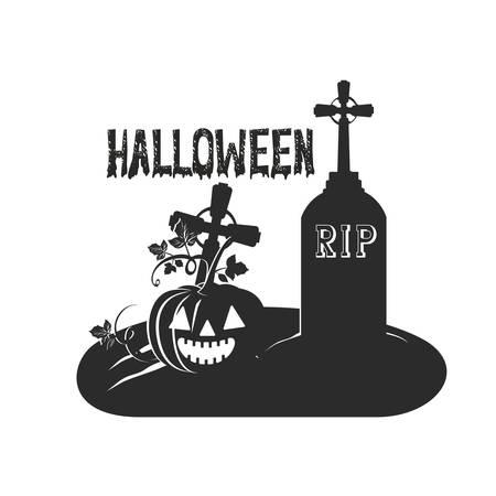 celebrazione di halloween con la zucca nella progettazione dell'illustrazione di vettore della scena del cimitero