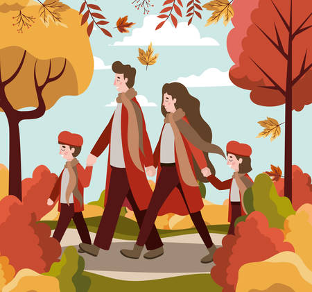 Cartoon Happy family walking in the park around autumn trees, colorful design. vector illustration Banque d'images - 133111269