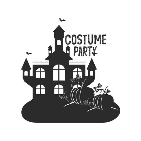 halloween dark castle with pumpkins scene icon vector illustration design