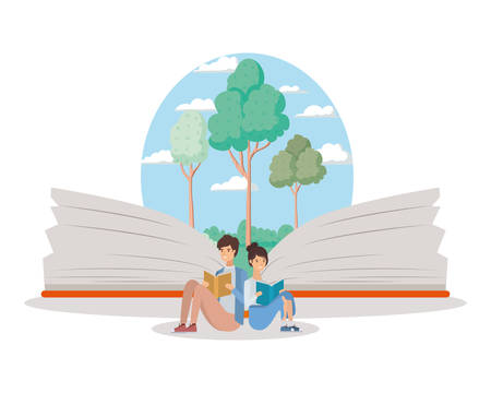 couple of students reading books vector illustration design Banque d'images - 133117825