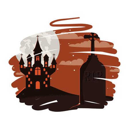 halloween dark castle in cemetery scene icon vector illustration design Vektorgrafik