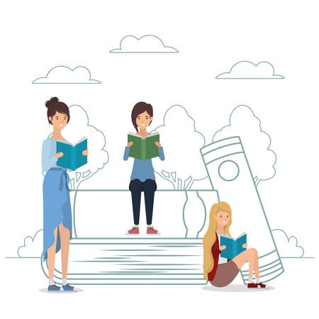 group of students reading books in the park vector illustration design Banque d'images - 133118651