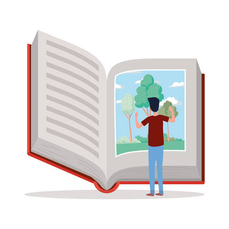 man student reading book character vector illustration design Banque d'images - 133118658