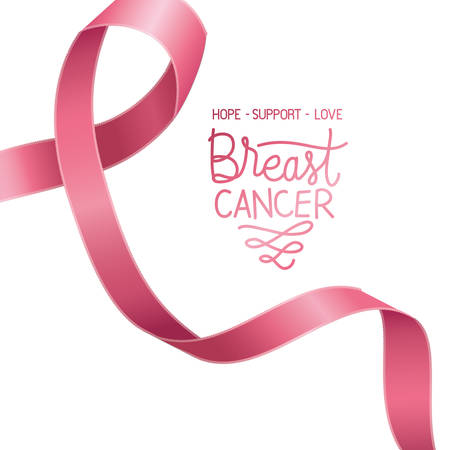 cancer campaign ribbon with calligraphy vector illustration design Vector Illustratie