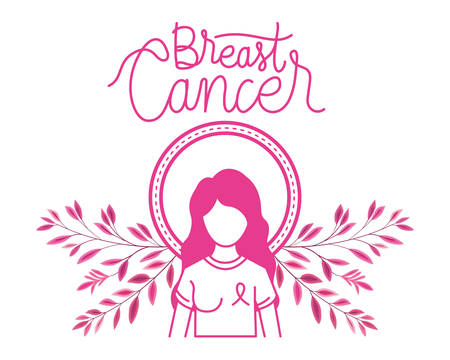 woman character breast cancer campaign vector illustration design