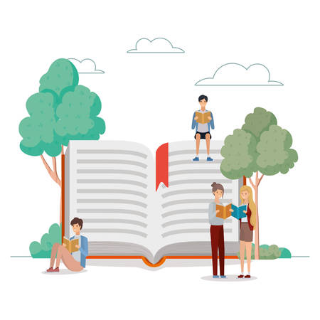 group of students reading books in the park vector illustration design Banque d'images - 133121919
