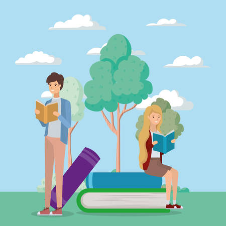 couple of students reading books vector illustration design Banque d'images - 133122604