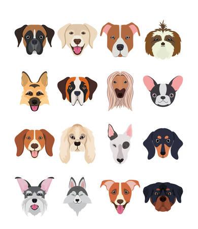 Paquete de razas de perros, diseño de ilustraciones vectoriales de grupo