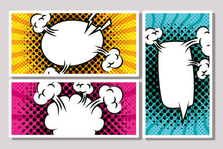 bundle of expresion bubbles pop art style vector illustration design Stock Illustratie