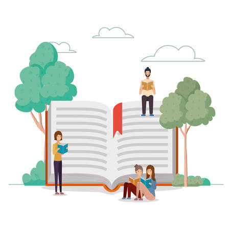 group of students reading books in the park vector illustration design Banque d'images - 133123010