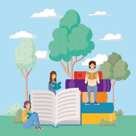 group of students reading books in the park vector illustration design Banque d'images - 133126587