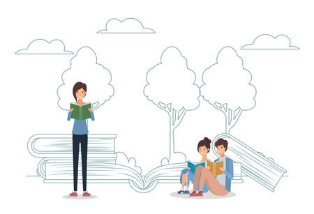 group of students reading books in the park vector illustration design Banque d'images - 133126761