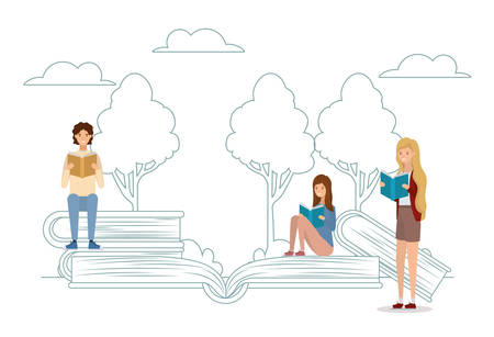 group of students reading books in the park vector illustration design Banque d'images - 133127283