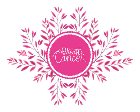 breast cancer campaign calligraphy lettering in circular frame vector illustration design