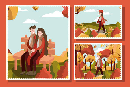 Autumn season colorful cards design with happy couple and kids in the park over orange background, vector illustration Banque d'images - 133128539