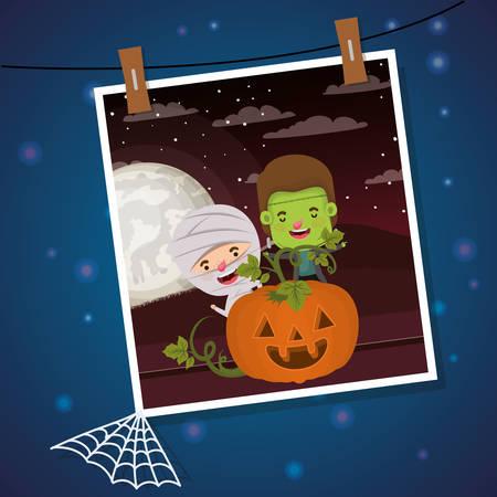 halloween photo with kids costumed vector illustration design